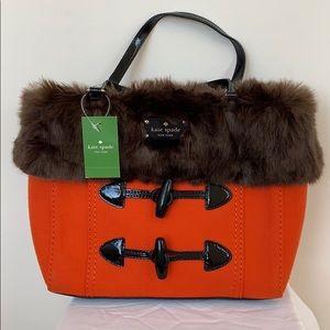 Kate Spade Quinn Foxtrot Hill, orange and fur trim